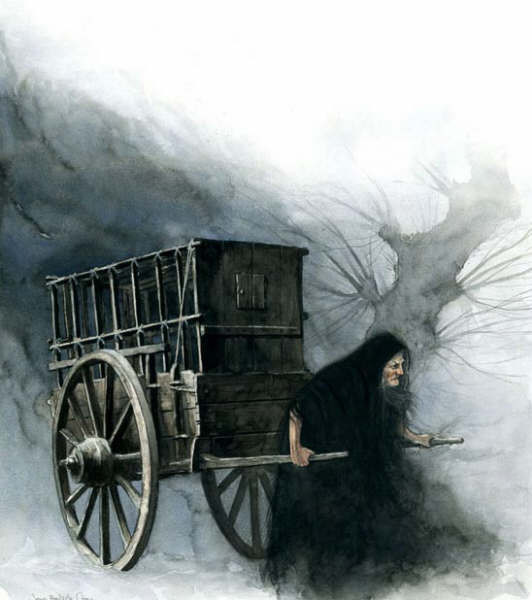 Halloween Witch pulling the cart